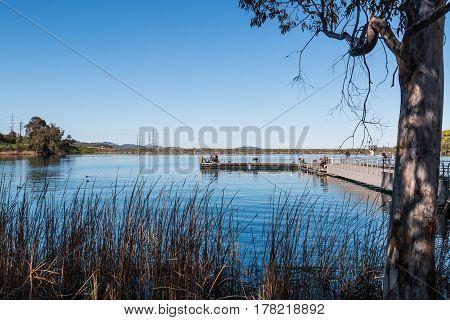Floating fishing pier at Lake Jennings in Lakeside, California.