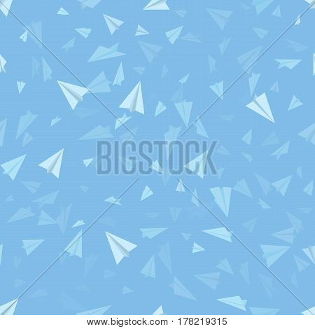 Vector Blue Seamless Background. Pattern of Paper Origami Planes on Sky Blue Background.