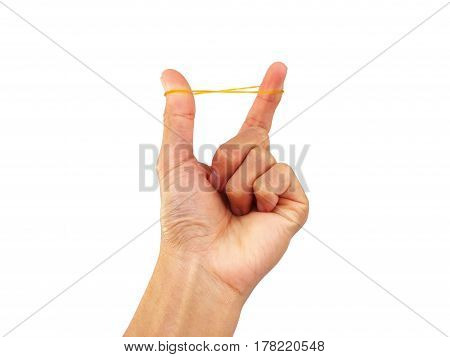 Rubber band in hand on a white background