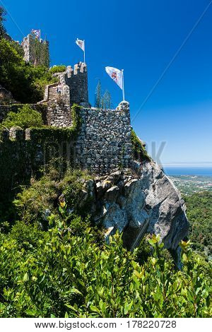 Castelo dos Mouros hilltop medieval castle in Sintra