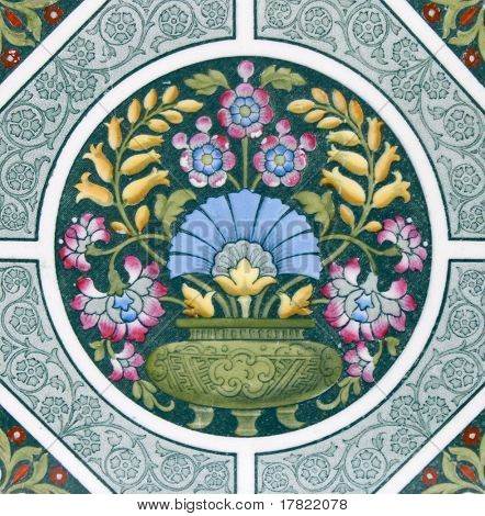An Arts & Crafts period original tile dating around 1880 with colorful design