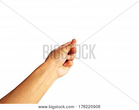 show hand and finger on white background