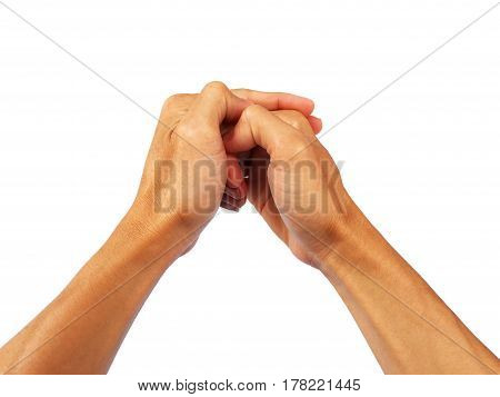 Show the gesture of both hands to touching. on white background