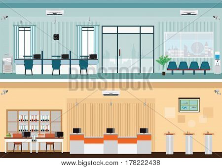 Public access to financial services to banks bank interior counter desk cashier consulting presenting Banking concept vector illustration.