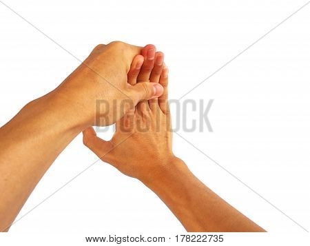 show hand gesture on a  white background.