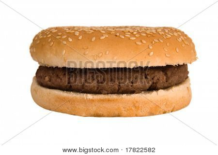 Simple, plain quarter pounder burger in a sesame seed bun