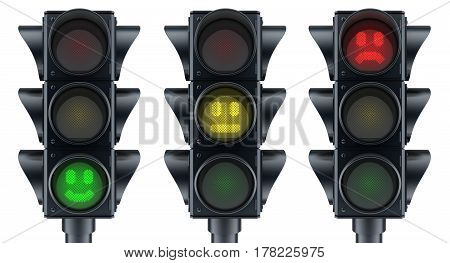Abstract three traffic lights on white background. 3d illustration