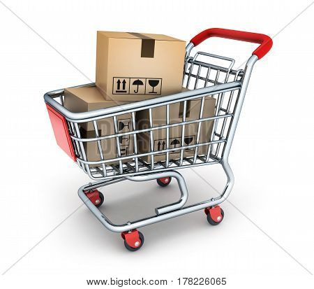 Shop cart and box commodity. 3d illustration