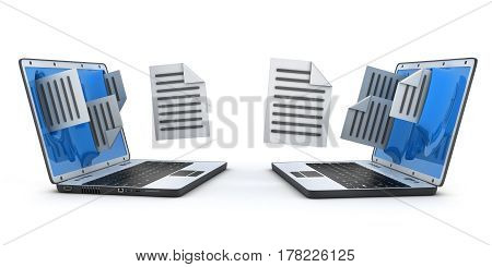Two laptops to transfer the file. 3d illustration