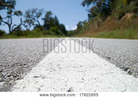 Empty mountain road, view from the tarmac