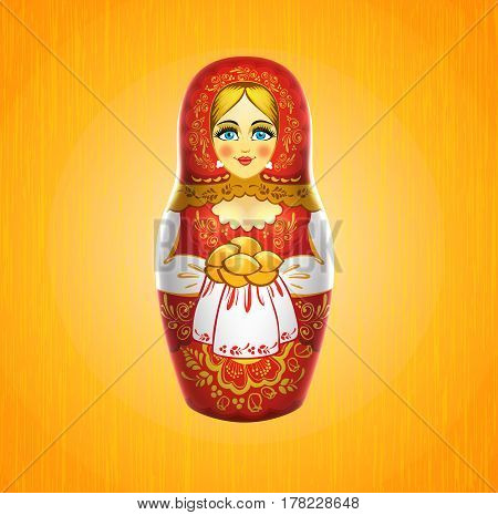 russian babushka or matrioshka on wood background