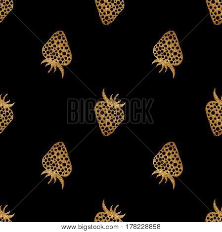 Gold strawberry pattern. Berry hand painted abstract nature background. Golden seamless texture for wallpaper, wrapping, textile design, fabric.
