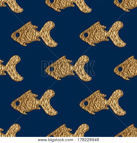 Gold fishes seamless pattern. Hand painted glittering sea background. Abstract marine golden texture.