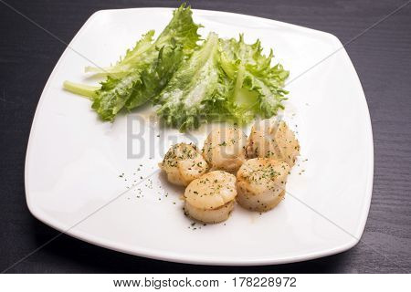 Saute of scallops with lettuce on a white plate
