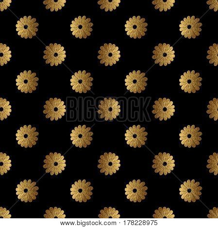 Gold abstract flowers pattern. Hand painted floral background. Nature seamless texture.