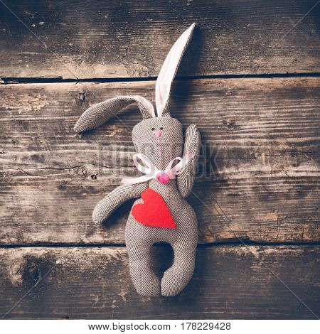 Easter bunny on old boards. Old board background. Rabbit. Easter ideas. Easter eggs. Space for text. Image in trendy toning.