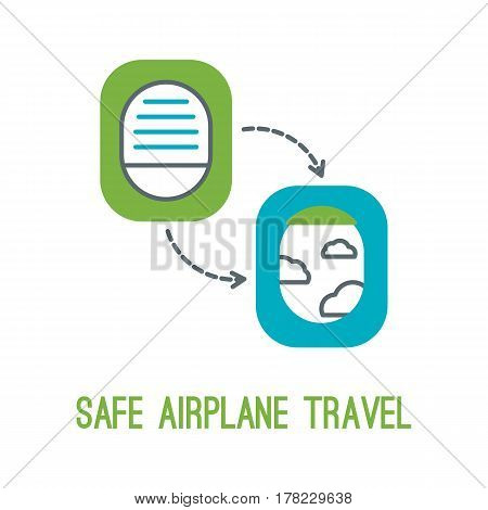 Concept of rules of airplane safety for banner design. Vector thin line icon of opened and closed window for safe travel isolated on white. Safe plane flight.