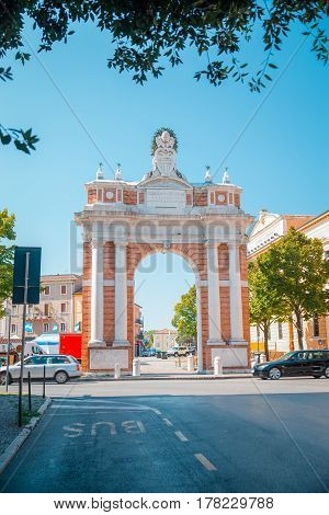 Monumental Arch dedicated to Pope Clement XIV in Santarcangelo, Italy Europe