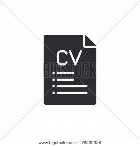 CV Resume icon vector filled flat sign solid pictogram isolated on white logo illustration