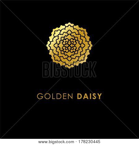 Abstract Flower Logo Icon Design. Elegant Golden Daisy Symbol. Template For Creating Unique Luxury D