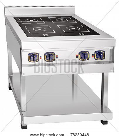 Modern ceramic metal stove in luxurious kitchen
