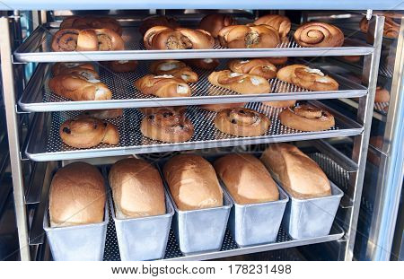 Dessert bread baking in Combi steamer. Production oven at the bakery. Baking bread.