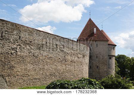 Ancient wall in the city of Tallinn, Estonia