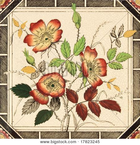 An antique decorative tile with dog rose design c1880