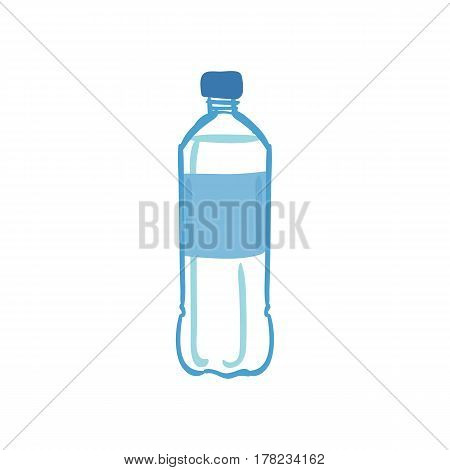 Hand drawn water bottle isolated on white background. Healthy lifestyle concept. Vector illustration