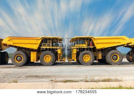 Coal mining truck on parking rod. Super dump truck.
