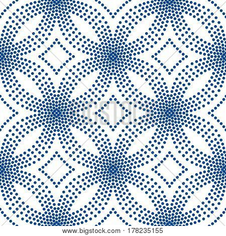 Abstract blue background. Floral pattern. Seamless vector design element. Intricate round ornament. Dots halftone texture. Fashionable fabric, furniture cloth print, wallpaper, interior decoration.