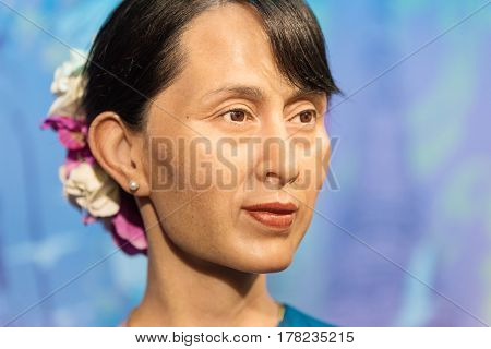 Bangkok - Jan 29 : A Waxwork Of Aung San Suu Kyi On Display At Madame Tussauds On January 29, 2016 I