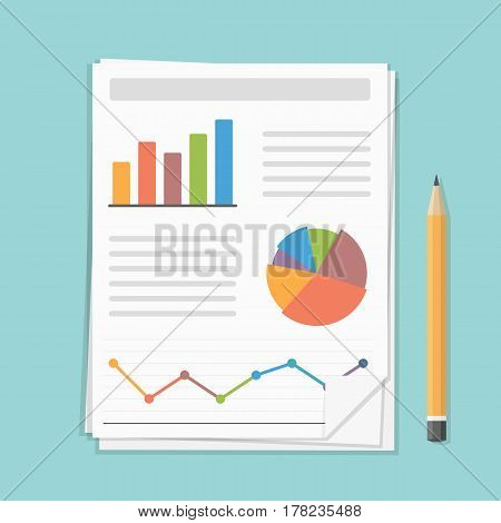 Papers with business report and pencil, vector eps10 illustration