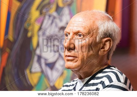 BANGKOK - JAN 29: A waxwork of Pablo Picasso on display at Madame Tussauds on January 29 2016 in Bangkok Thailand. Madame Tussauds' newest branch hosts waxworks of numerous stars and celebrities