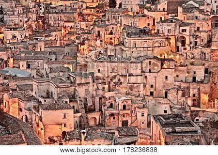 Matera, Basilicata, Italy: cityscape at sunrise of the picturesque old town (sassi di Matera), European Capital of Culture 2019