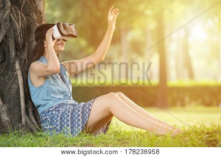 Beautiful Asian Woman Touch Screen With Vr Headset