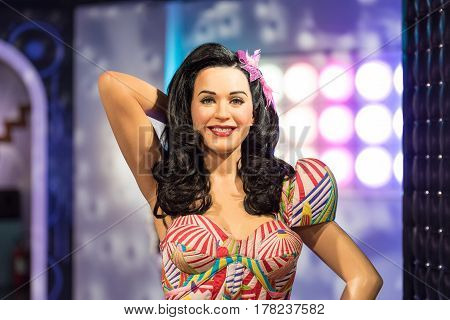 Bangkok-jan 29:: A Waxwork Of Katy Perry On Display At Madame Tussauds On On January 29, 2016 In Ban