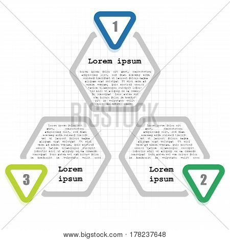Circle infographic template with 3 options. Hexagon elements with inscriptions and numbers on cell background. For presentation and design concept. Vector illustration.