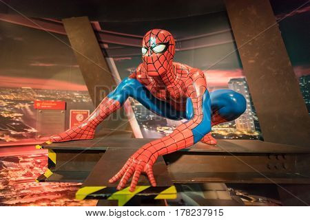 Bangkok -jan 29: A Waxwork Of Spiderman On Display At Madame Tussauds On January 29, 2016 In Bangkok