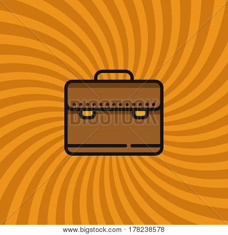 Business Case Bag Icon, Simple Line Cartoon Vector Illustration