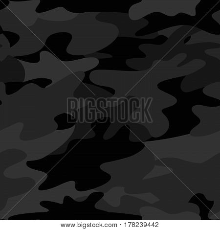 Seamless Camouflage pattern military background. Black and grey colors Abstract pattern. Vector design EPS10