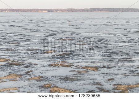 Kaunas Lagoon Water Freezes In Winter