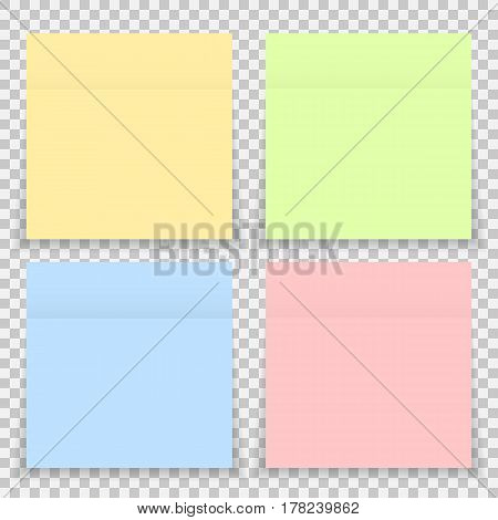 Vector colorful office sticker note paper isolated. Set of sticky paper with shadow isolated on a transparent background. Vector yellow post note for your design.
