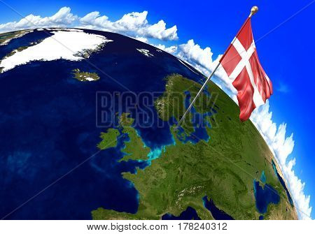 Denmark national flag marking the country location on world map. 3D rendering, parts of this image furnished by NASA