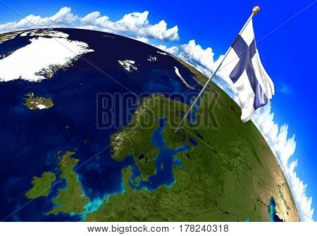 Finland national flag marking the country location on world map. 3D rendering, parts of this image furnished by NASA