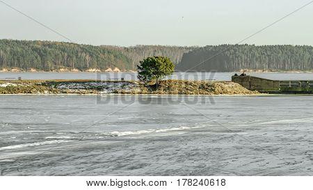 Lagoon Water Freezes In Winter