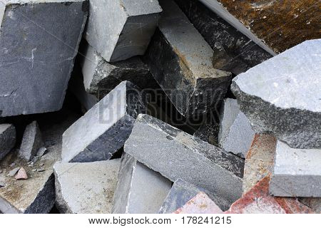 Wastes from the production of granite products near the stone processing shop