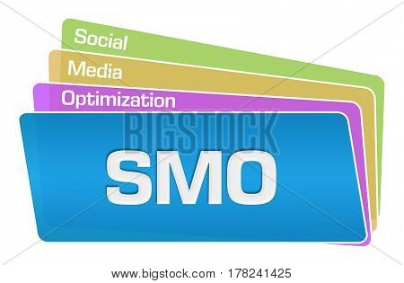 Social media optimization text written over colorful background.