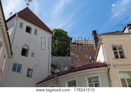 Long Leg Gate Tower on the wall of Tallinn, Estonia