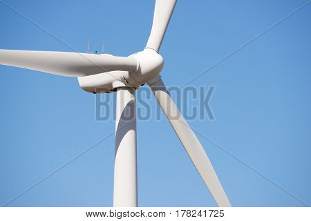 Windmill for electric power production, Zaragoza Province, Aragon, Spain.
